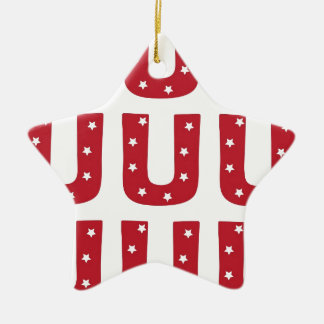Letter U - White Stars on Dark Red Ceramic Star Ornament