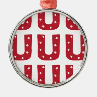 Letter U - White Stars on Dark Red Silver-Colored Round Ornament
