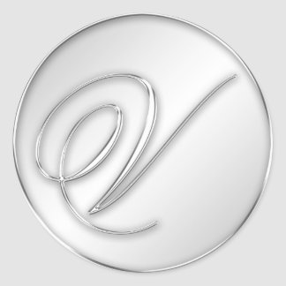 Letter V script initial faux silver monogram favor Round Stickers