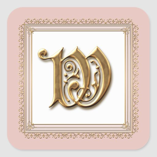 Letter W - Gold & Lace Classic Formal Wedding Seal Sticker
