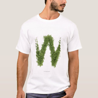 Letter 'W' in cress on white background, T-Shirt