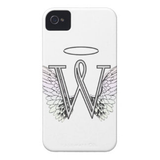 Letter W Initial Monogram with Angel Wings & Halo iPhone 4 Case-Mate Cases