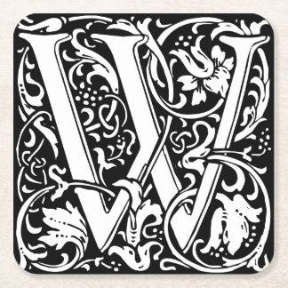 Letter W Medieval Monogram Vintage Initial Square Paper Coaster
