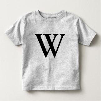 Letter W monogrammed black initial t shirt