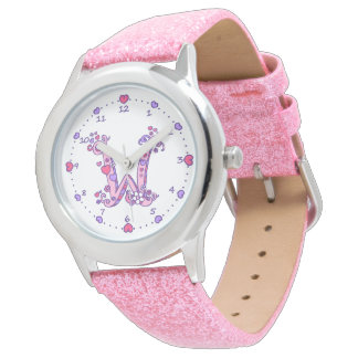 Letter W pink monogram personalized girls watch