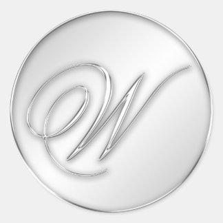 Letter W script initial faux silver monogram favor Round Sticker