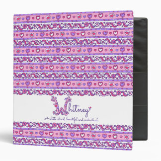 Letter W Whitney hearts flowers doodle name Binder