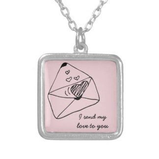 Letter with love | Romantic style Silver Plated Necklace