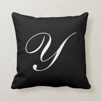 Letter Y Black Monogram Pillow