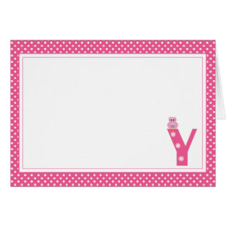 Letter Y with Owl Blank Note Card