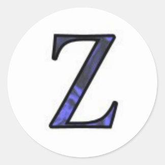 Letter Z Classic Round Sticker