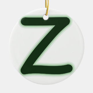 Letter Z forest green glow Round Ceramic Ornament