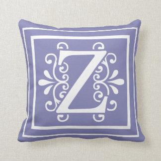 Letter Z Monogram Periwinkle Purple Throw Pillow