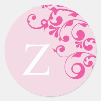 Letter Z Monogram Pink Wedding Envelope Seals