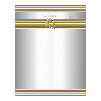 Letterhead Elegant Gold Silver White Pearl