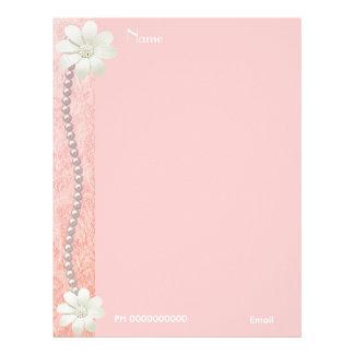 Letterhead Flower Jewel Pearls Pink Border 2