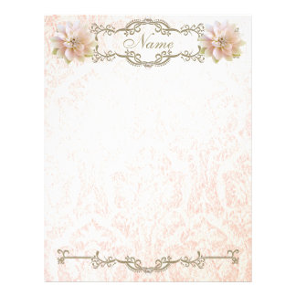 Letterhead Old Pink Lotus Flower Paper Gold Pearl