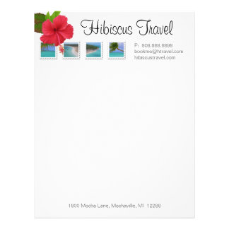 Letterhead Stationery Travel Agent Ocean Hibiscus