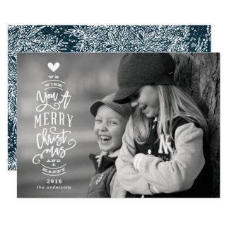 Lettering Merry Christmas Happy 2018 Photo Card