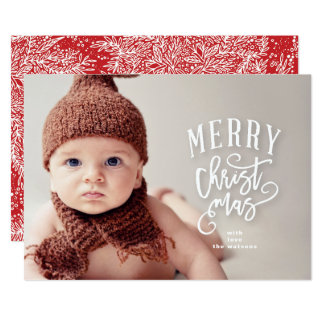 Lettering Merry Christmas Photo Holiday Card