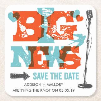 Letterpress Big News Save the Date Coasters