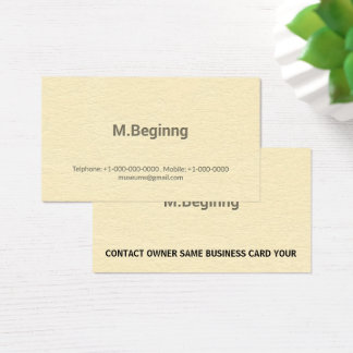 Letterpress Cream Coloured Professional Business Card