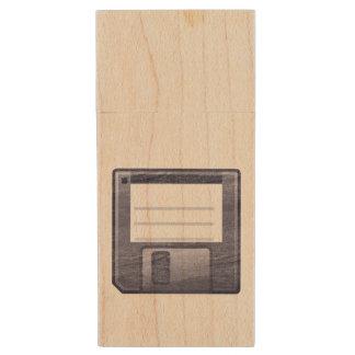 Letterpress Floppy Disk Wood USB Flash Drive