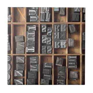 letterpress metal type tile