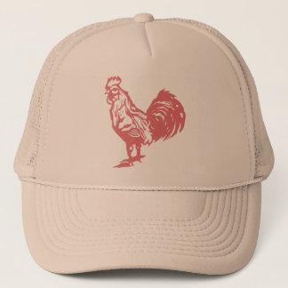Letterpress Style Red Rooster Trucker Hat