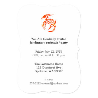 Letterpress Tribal Style Dragon Card