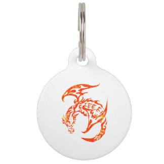 Letterpress Tribal Style Dragon Pet ID Tag