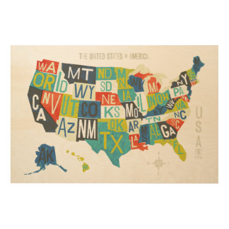 Letterpress USA Map 4 Wood Prints