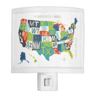Letterpress USA Map Nite Lite