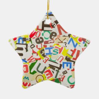 Letters Ceramic Star Ornament
