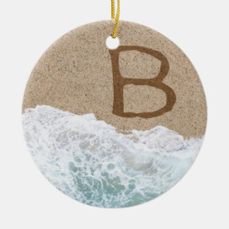 LETTERS IN THE SAND B ROUND CERAMIC ORNAMENT