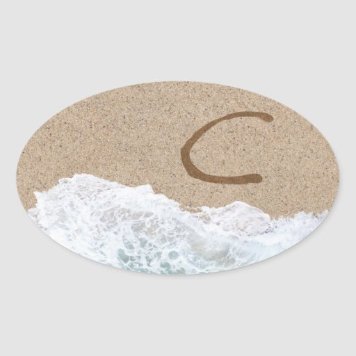 LETTERS IN THE SAND C STICKER