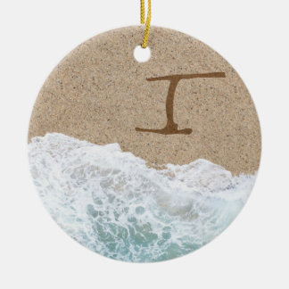 LETTERS IN THE SAND I ROUND CERAMIC ORNAMENT