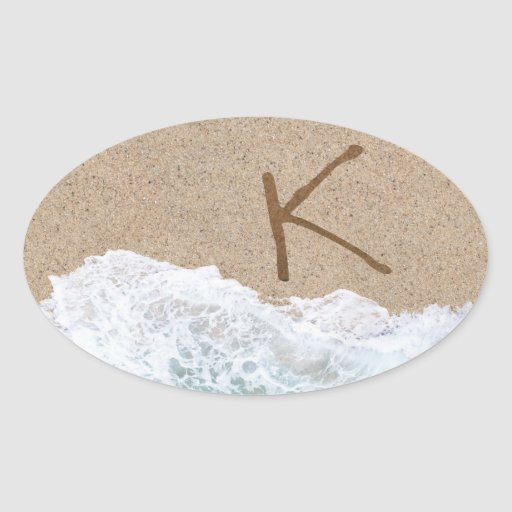 LETTERS IN THE SAND K OVAL STICKERS