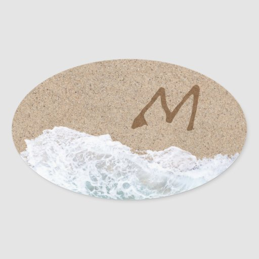 LETTERS IN THE SAND M STICKER