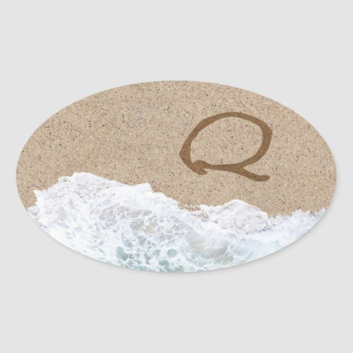 LETTERS IN THE SAND Q STICKERS