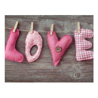 Letters Love on Wooden Table Postcards