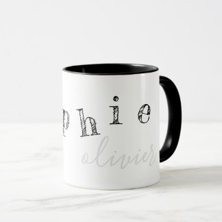 letters of your name cool black/white mug