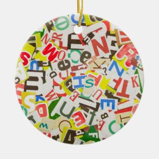 Letters Round Ceramic Ornament