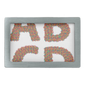 letters set rectangular belt buckle