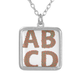 letters set silver plated necklace