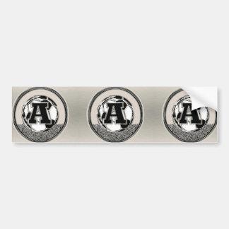 Lettre A de monogramme du football de médaille Autocollant De Voiture