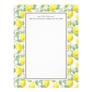 Lettre À En-tête Citrons jaunes avec le motif vert de feuille