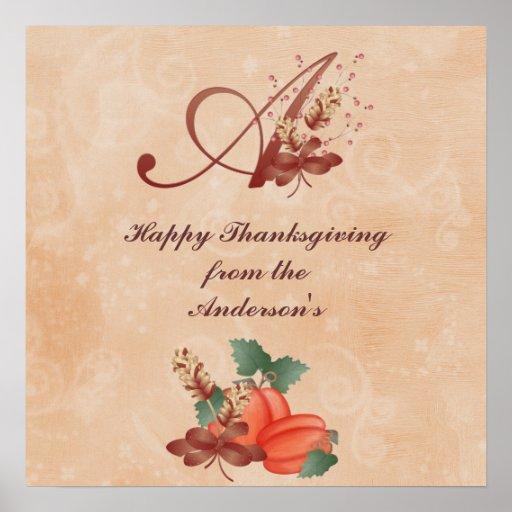Lettre de monogramme de thanksgiving un nom de cha posters