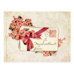 Lettres et fleurs d'amour vintages de Valentine Carte Postale