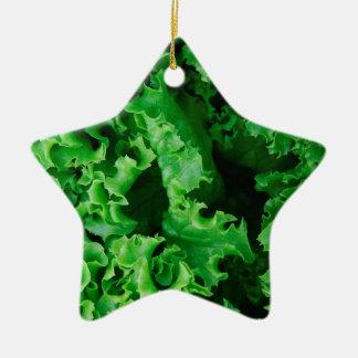 Lettuce Close Up Print - Weird Unique Gift Ceramic Star Ornament